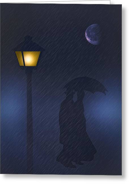 A Rainy Night Greeting Card by Tom York Images