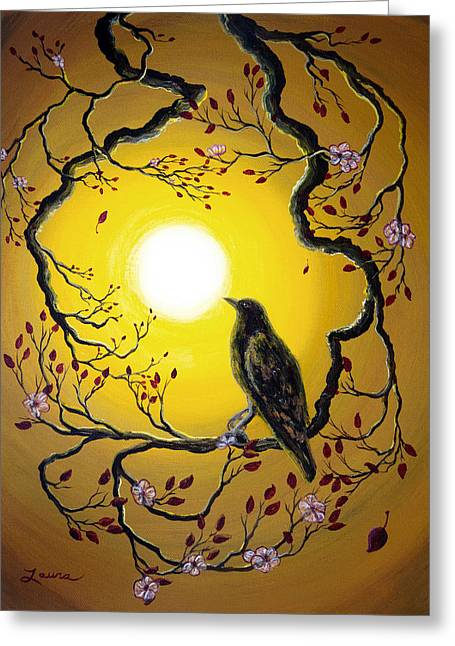 A Raven Remembers Spring Greeting Card by Laura Iverson