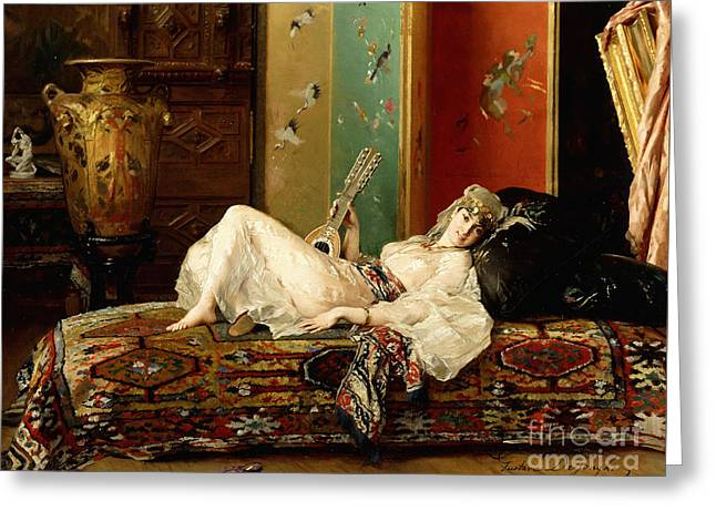 A Reclining Odalisque Greeting Card by Gustave Leonard de Jonghe