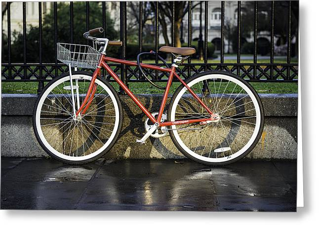 A Red Bicycle Near Jackson Square, New Orleans, Louisian Greeting Card