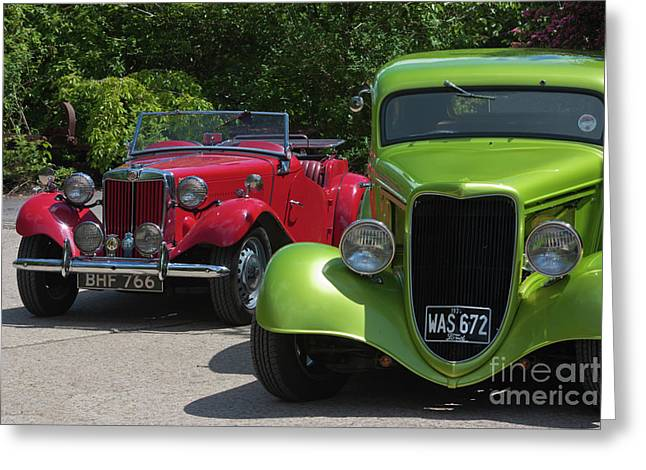A Red Mg And A Green Hot Rod Greeting Card