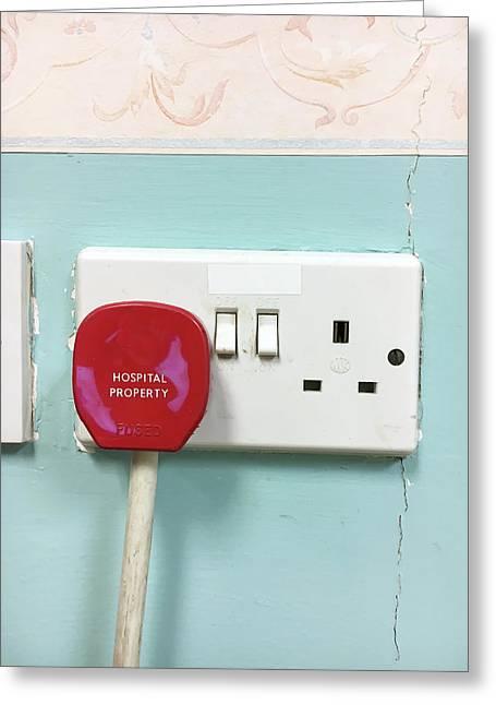 A Red Plug Greeting Card by Tom Gowanlock