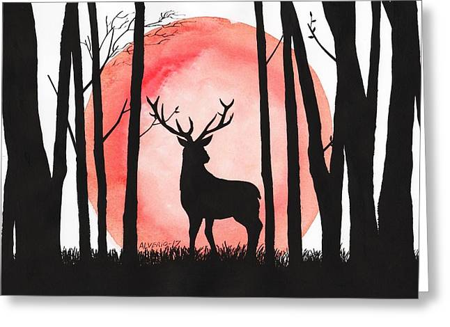 A Reindeer In The Woods Greeting Card by Edwin Alverio