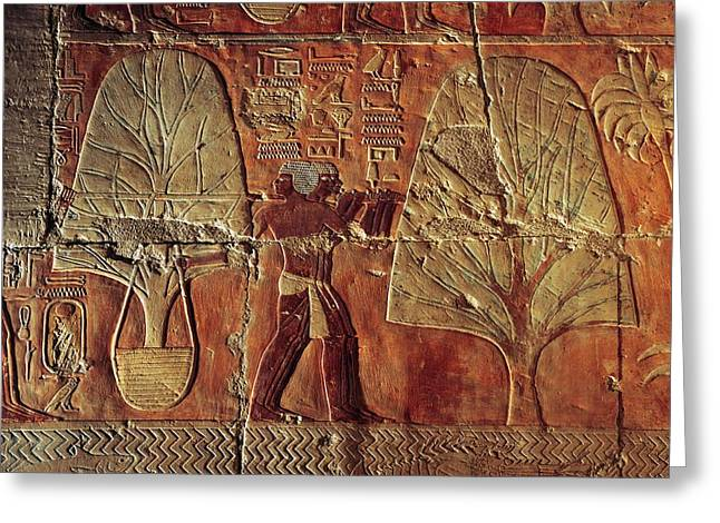 Relief Sculpture Greeting Cards - A Relief Of Men Carrying Myrrh Trees Greeting Card by Kenneth Garrett
