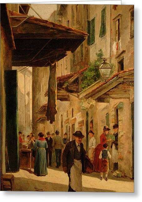 A Rendezvous In The Uffizi Greeting Card by Odoardo Borrani
