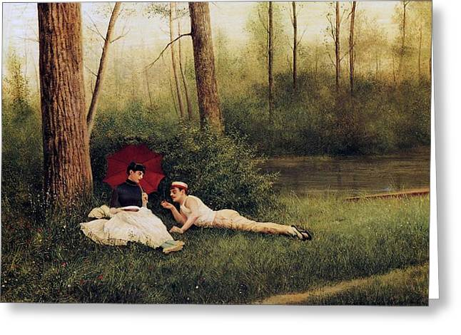 A Rest After Boating Greeting Card by Georges Croegaert