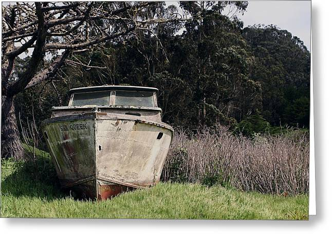 A Retired Old Fishing Boat On Dry Land In Bodega Bay Greeting Card
