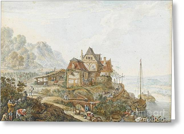 A Rhine Landscape With Peasants At Work Greeting Card by MotionAge Designs