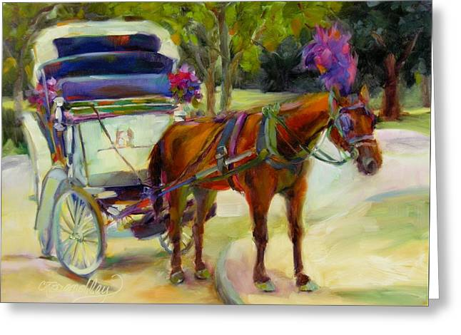 Greeting Card featuring the painting A Ride Through Central Park by Chris Brandley