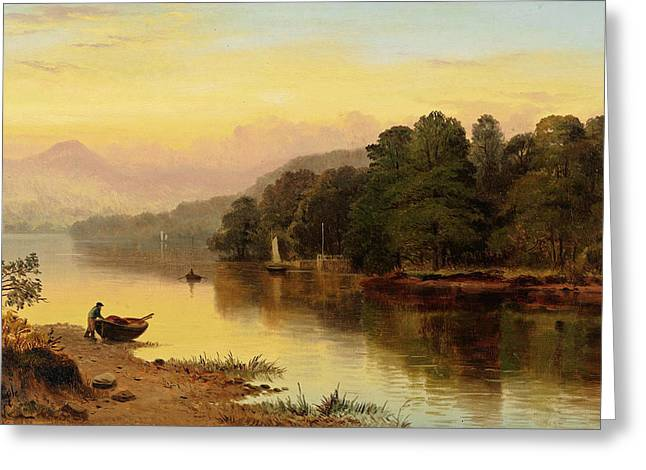A River In Wales Greeting Card by George Cole