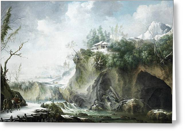 A River Landscape In Winter, With Travellers On A Snowy Path Greeting Card by Francesco Foschi