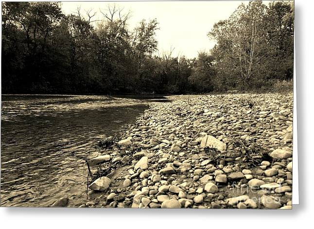 A Rivers Journey - Sepia Greeting Card by Scott D Van Osdol
