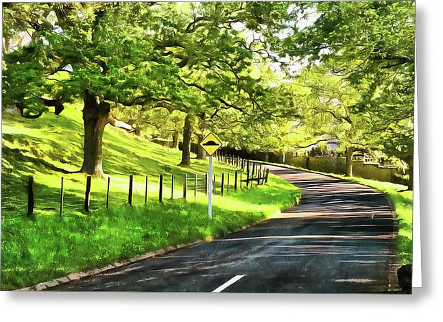 A Road In A Public Park Greeting Card