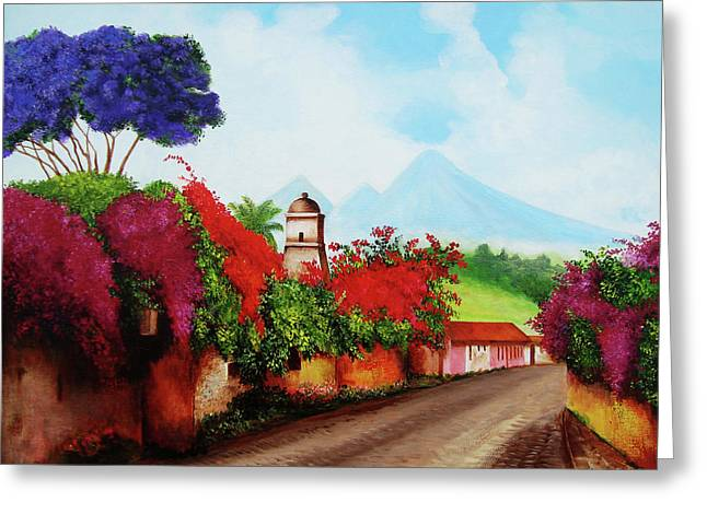 A Road In Antigua Greeting Card