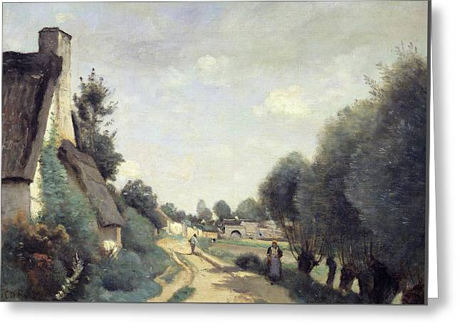 A Road Near Arras Greeting Card by Jean Baptiste Camille Corot