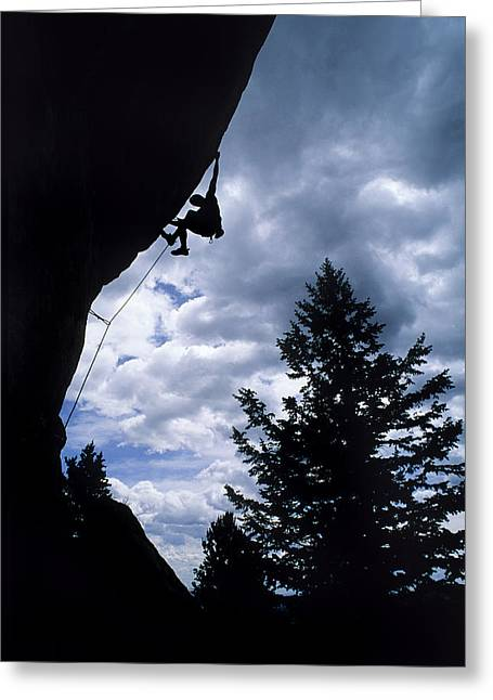 A Rock Climber Ascends A Steep Route Greeting Card by Bill Hatcher