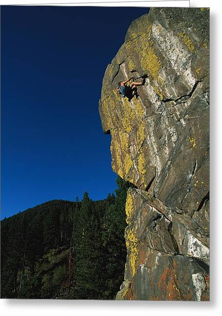 Release Greeting Cards - A Rock Climber Solo Climbs In Montanas Greeting Card by Gordon Wiltsie