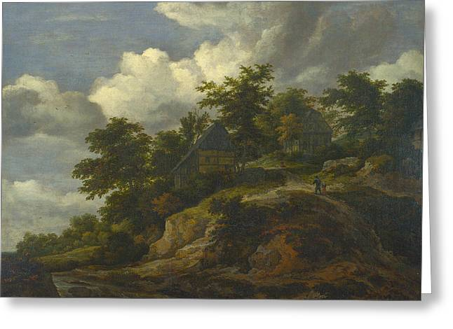 A Rocky Hill With Three Cottages, A Stream At Its Foot Greeting Card by Jacob van Ruisdael