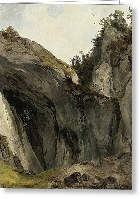 A Rocky Outcrop With Vegetation Greeting Card by Friedrich Gauermann