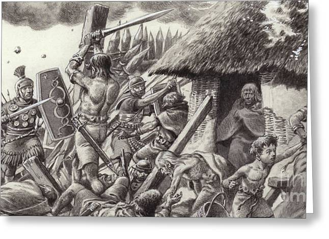 A Roman Legion Storms Maiden Castle Greeting Card by Pat Nicolle
