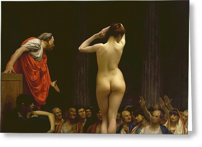A Roman Slave Market, Jean Leon Gerome Greeting Card