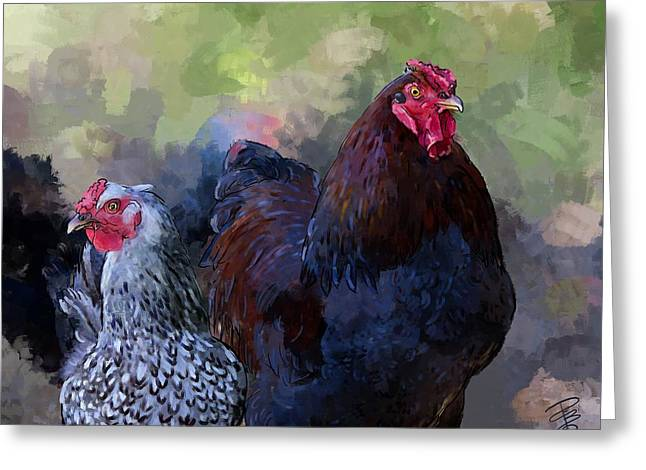 A Rooster And A Hen Greeting Card by Debra Baldwin
