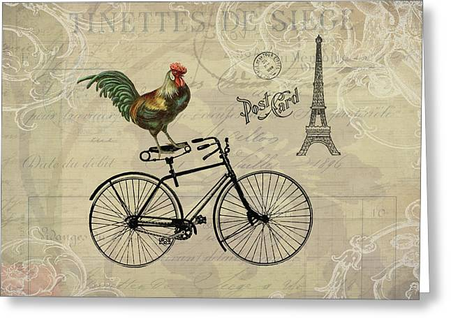 A Rooster In Paris Greeting Card