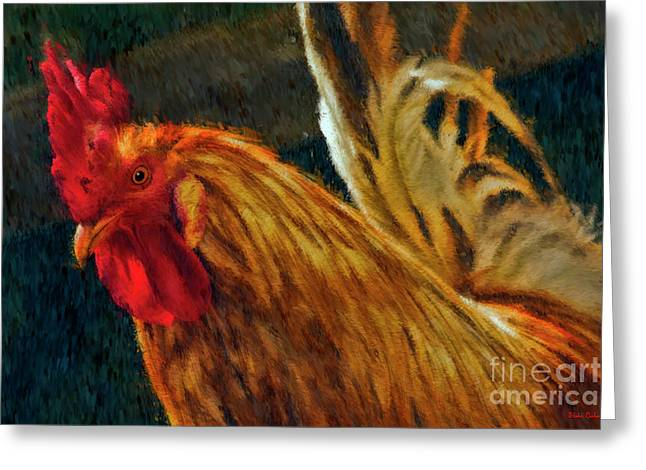 A Rooster's Portrait Greeting Card by Blake Richards