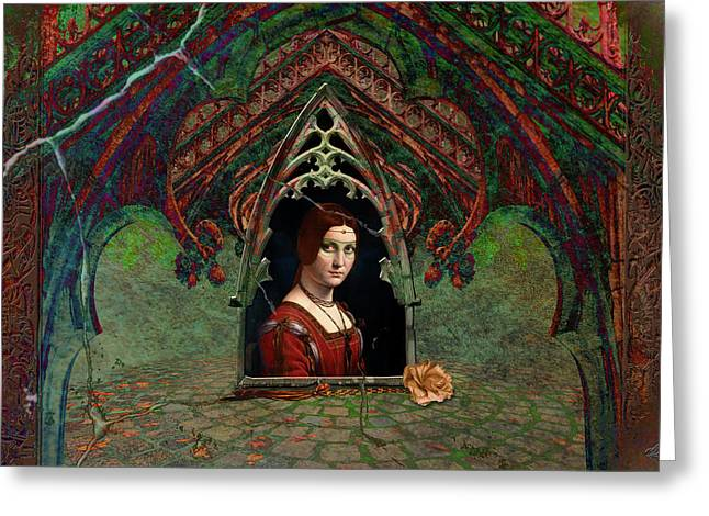 Greeting Card featuring the digital art A Rose For The Contessa by Louise Roach