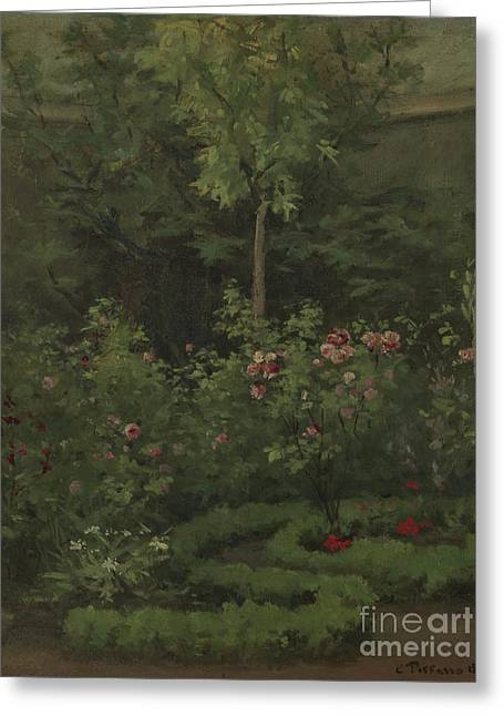 A Rose Garden Greeting Card by Camille Pissarro