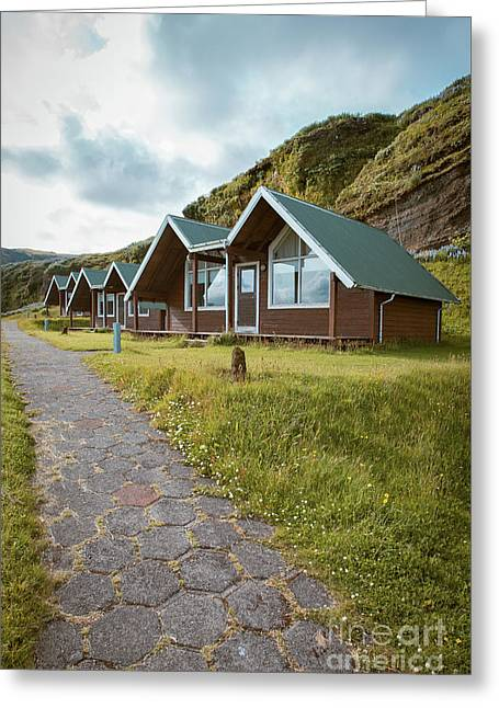 Greeting Card featuring the photograph A Row Of Cabins In Iceland by Edward Fielding