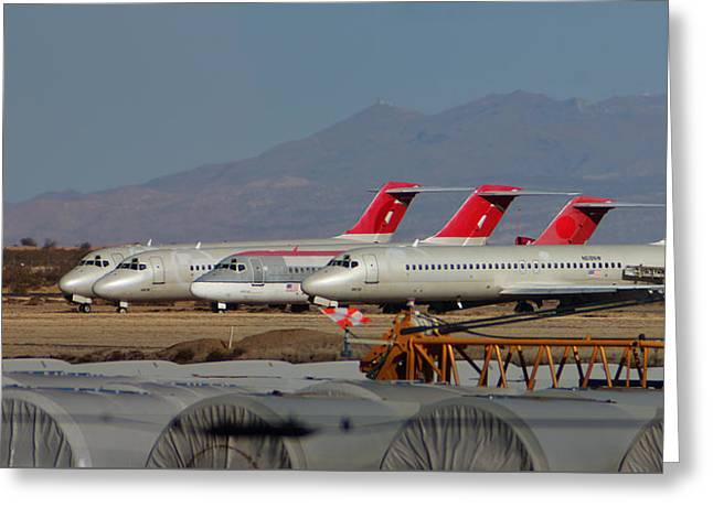 A Row Of Dc-9's Silently Await Their Final Demise Greeting Card