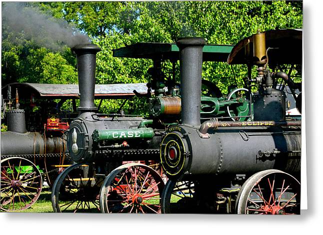 A Row Of Steam Greeting Card