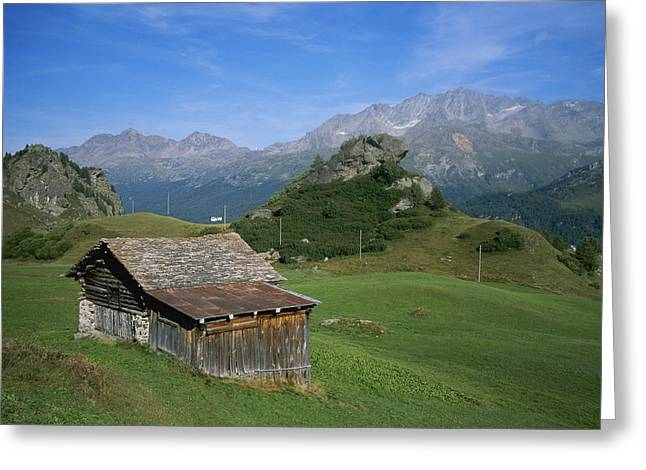 Farmers And Farming Greeting Cards - A Rustic Mountain Hut High In The Swiss Greeting Card by Taylor S. Kennedy
