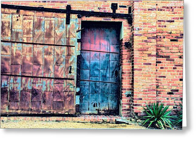 A Rusty Loading Dock Door Greeting Card by Diana Mary Sharpton