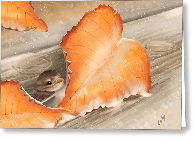 Greeting Card featuring the painting A Safe Place by Veronica Minozzi