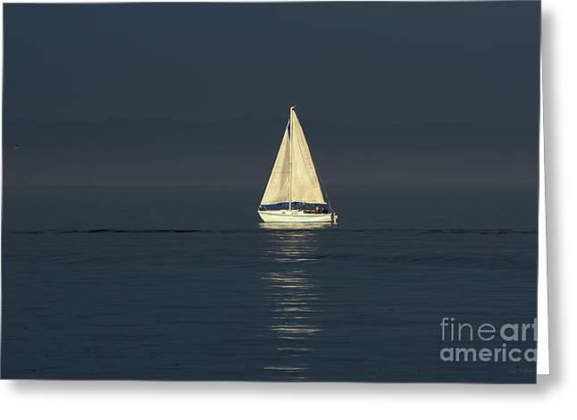 A Sailboat Capturing Light Greeting Card