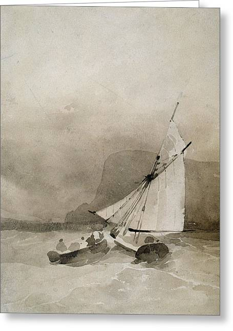 A Sailing Vessel And A Rowing Boat In Rough Seas Greeting Card