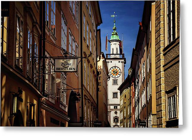 A Salzburg Street  Greeting Card