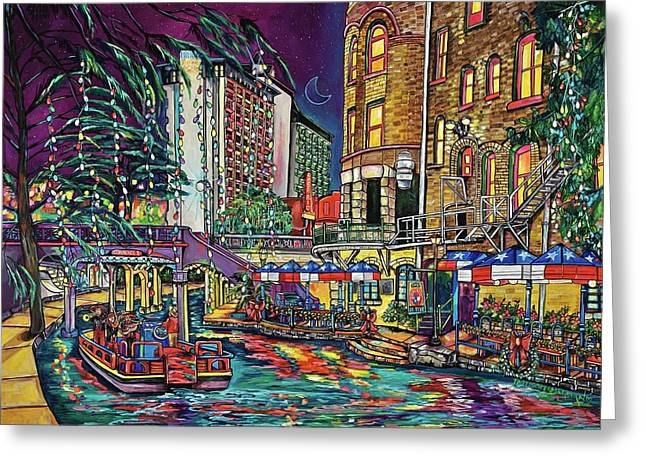 Greeting Card featuring the painting A San Antonio Christmas by Patti Schermerhorn