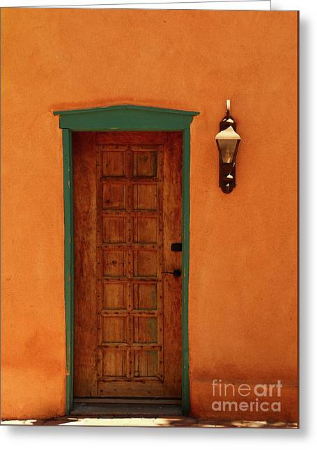 A Santa Fe Door Greeting Card by Christiane Schulze Art And Photography