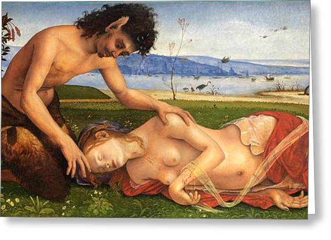 A Satyr Mourning Over A Nymph Greeting Card by Piero di Cosimo