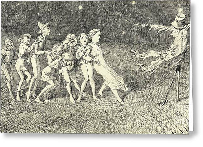 A Scarecrow Greeting Card by Charles Altamont Doyle