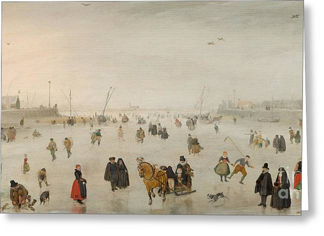 A Scene On The Ice, Greeting Card by Hendrik Avercamp