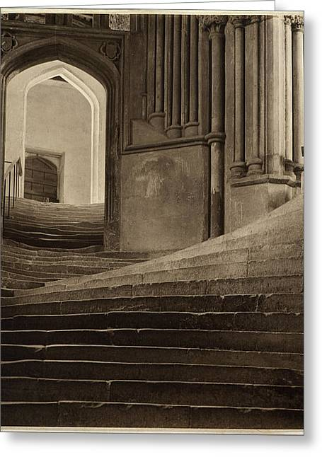 Greeting Card featuring the pyrography A Sea Of Steps by Artistic Panda