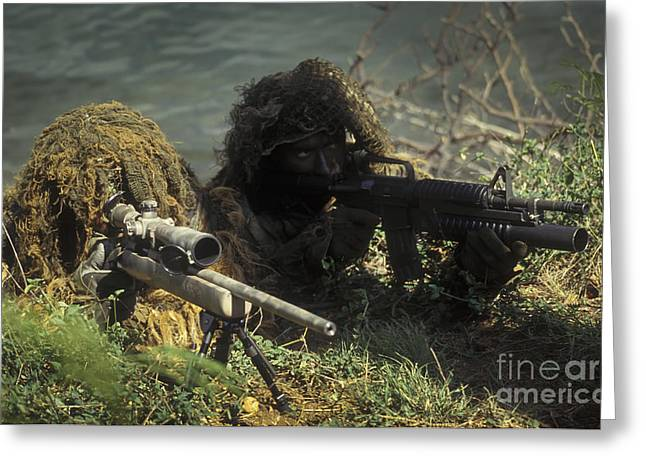 On The Lookout Greeting Cards - A Seal Sniper Swim Pair Set Up An Greeting Card by Michael Wood