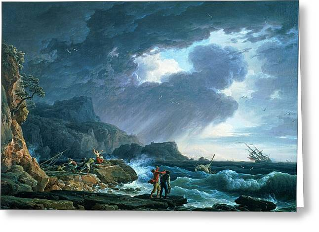 Ship-wreck Greeting Cards - A Seastorm Greeting Card by Claude Joseph Vernet
