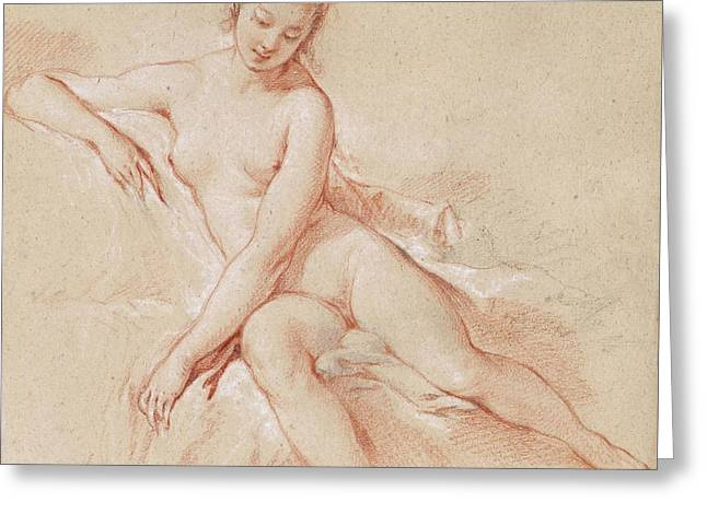 A Seated Female Nude  Greeting Card