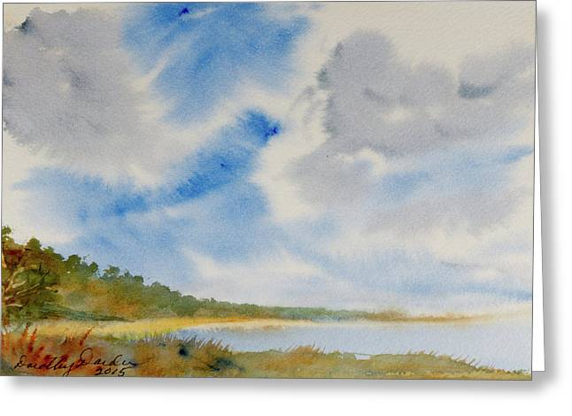 A Secluded Inlet Beneath Billowing Clouds Greeting Card