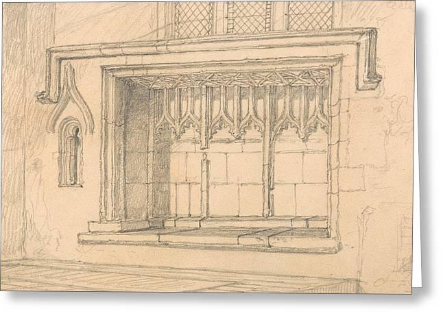 A Sedilia In Upwell Church, Norfolk Greeting Card